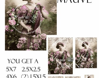 Lady in Mauve 2 Sheet Digi Photo Set