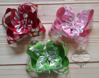 STORE CLOSING, Silver Foil Polka Dot Hair Bow, Holiday, Spirit Week/School, Party (Several Colors Available)