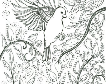 Flying bird coloring sheet