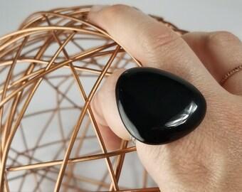 black stone statment ring