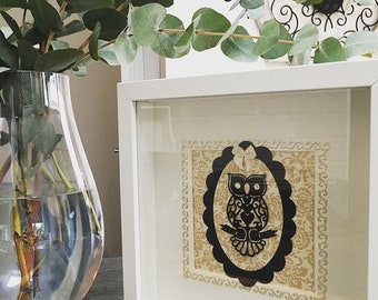 Silhouette style owl paper craft in box frame