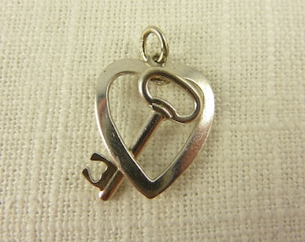 Vintage Sterling Key in Heart Charm