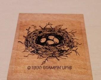 Retired  Rubber Stamps  -  Bird Nest w/Eggs
