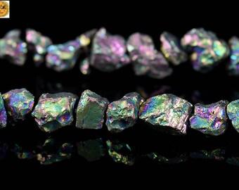 Raw Iron pyrite, Titanium Rainbow, Rough Cut Nugget Beads, Nugget Beads, Rough Beads, Rainbow, Grade AA, One strand, 15inches, 5-6mm
