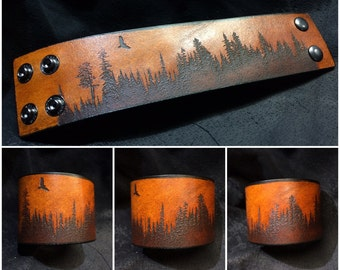 Free - leather forest silhouette cuff bracelet