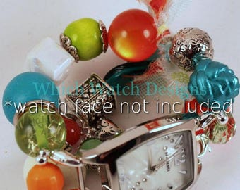 SALE Tropics.. Lime, Teal, White and Orange Chunky Interchangeable Beaded Watch Band,