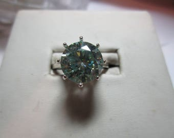 Ladies  3ct blue moissanite solitaire sterling silver ring