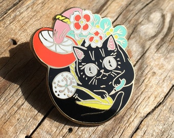Curious Nature Cat Enamel Pin by Paper Puffin - Forager Black Cat