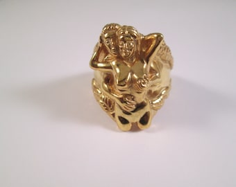 10 Karat Yellow Gold Erotic Man And Woman ring Ring