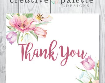 Spring Watercolor Thank You Cards
