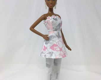 """Doll Pant Suit-11.5"""" Doll Clothes-Handmade Doll Clothes-Peplum Dress-Crop Pants-Unique Doll Clothes-Gifts for Girls-Toys"""