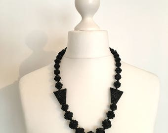 Antique Victorian Large Carved Whitby Jet Bead Necklace