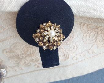 Vintage adjustable ring, adjustable ring, adjustable pearl and rhinestone ring, adjustable rhinestone ring, adjustable pearl ring, vintage