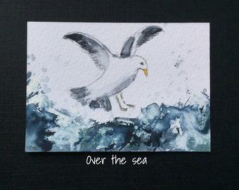 Seascape ORIGINAL Miniature Watercolour Seagull Ocean ACEO  Watercolor For him For her Home decor Wall art Gift Idea