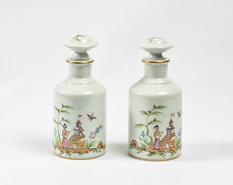 Hammacher Schlemmer Asian Themed Porcelain Bottles with Stoppers