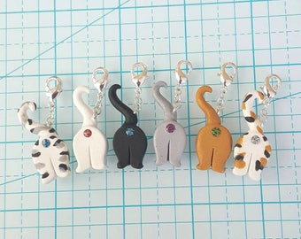 Glitter Cat Butt planner charms, stitch markers, progress keepers, journal charms, planner accessories