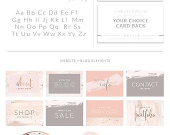 Rose Gold Photography Logo Branding Kit, Blush Wedding Photographer Marketing Set, Calligraphy Stamp Photo Watermark Boutique, 060