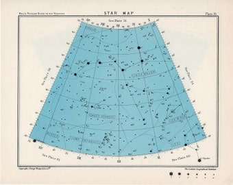 1955 star map arc 55 or 56 constellations original vintage celestial print
