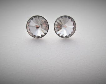 Silver Swarovski crystal post earrings, Large studs, Crystal round earrings on surgical steel post, Large posts
