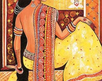 Bharat, Indian woman painting, Indian decor, Goddess art, feminine beauty, feminine decor, beauty painting print 8x12+