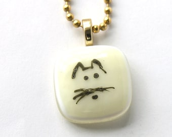 Hungry  Fat Cat - Fused Glass Cat Face Necklace -  Small Cat Pendant - Kitten Fused Glass Jewelry