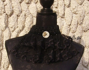 "Gothic black ruffled necklace ""Artemus"" velvet, lace, veil and Swaroski rhinestones"