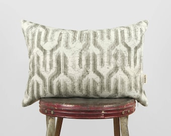 12x18 Lumbar Tribal Decorative Throw Pillow Case, Cushion cover | Gray and White Geometric Aztec Accent pillows | Mid Century Modern Decor