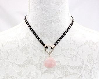 Suede leather Rose Quartz Choker Necklace ,Suede Leather Choker  Necklace ,Rose  Quartz Choker  Necklace ,38cm