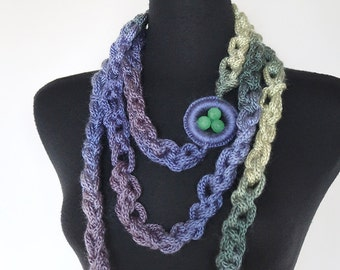 Lilac Lavender Violet Light Yellow Teal Sage Green Color Chunky Cords Ropes Crochet Chains Lariat Bib Necklace with Glass Beads