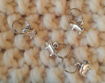 Knitting Stitch Markers - Silver Pigs