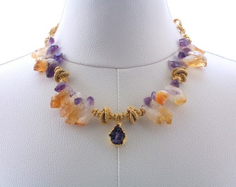 Ametrine/Amethyst Necklace Gemstone Jewelry Gold Necklace Chain Jewelry Luxury Wear  Necklace Statement Jewelry Purple Gold Fashion Necklace