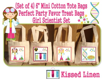 """Science Party Scientist Birthday Party Treat Favor Gift Bags Mini 6""""x6"""" Natural Cotton Totes Children Kids Girls Boys -  Set of 4"""