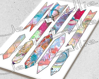 Artful Banners (Solid) Digital Collage Sheet