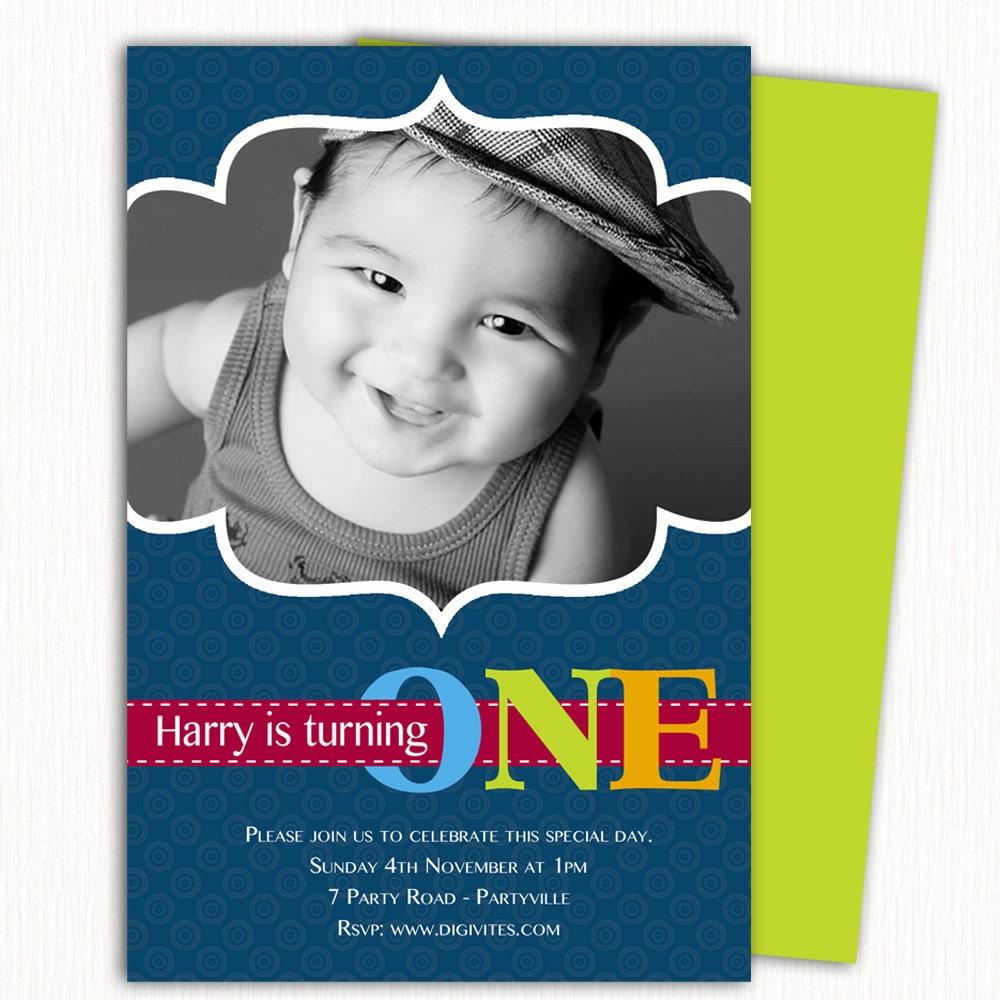 photo Birthday Invitation/1st Birthday Invitation/Boy Birthday