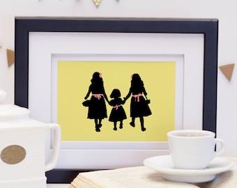 Mother's Day Art Print, Mom's Girls, Sisters Silhouette Art, Custom Silhouette Art, Gift for Mom, Mother's Day Print, Custom Silhouettes