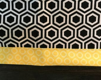 Beehive Black honeycomb with Yellow dot edge Table Runner (free shipping US)