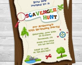 Scavenger Hunt - Printable Birthday Party Invitations