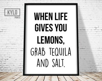 Typography Poster, Digital Print, Typography Print, Kitchen Print, Wall Art, When Life Gives You Lemons Print, Funny Print, Typography Art