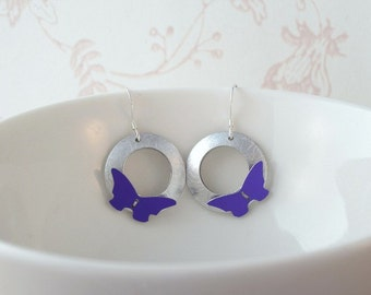 Anodised aluminium butterfly earrings