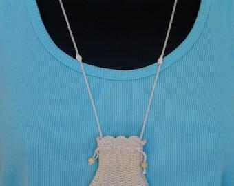 Drawstring Amulet Bag - White