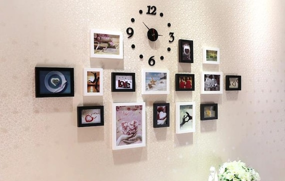 15 pieces solid wood picture photo frame set wall clock mixed color ...