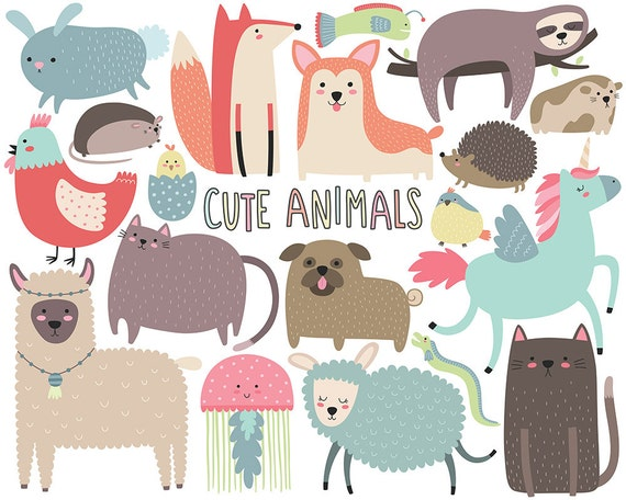 cute animals clipart funny animal clipart cute digital clip rh etsy com funny animal clipart images funny animal clipart black and white