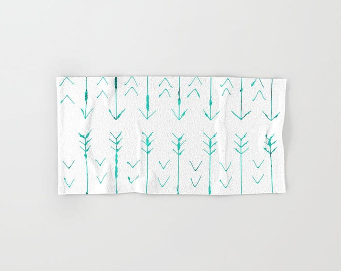 Bath Towel - Teal Arrow  - Microfiber - Cotton Terry Cloth - Made to Order