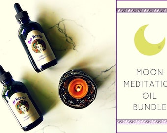 Massage Oil Bundle for Yin Yoga + Relaxation + Reiki + Personal Care + Body Care | Wax On - Wax Off Moon Meditation Bundle