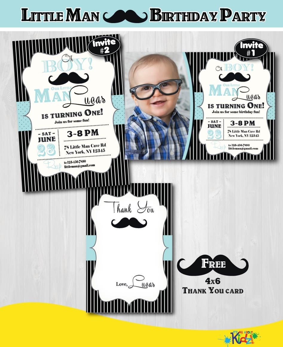 Little Man birthday Invitation Little Man Mustache Birthday