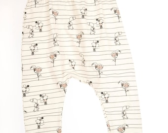 Slim Harem pants/leggings white mouse, fox and flamingo print Jersey toddler/baby trousers