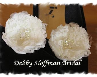 Bridal Wedding Flowers, Flower Shoe Clips, Wedding Flower Hair Clips, Wedding Flowers With Lace, Pearls, Swarovski Crystals, No. 1011FSPC2