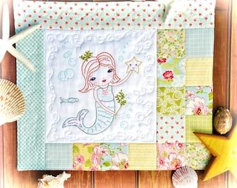 Merry Mermaid embroidery Pattern PDF - Quilt sea beach stitchery starfish