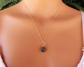 Blue Labradorite Necklace, Labradorite Pendant, Delicate, Minimalist, Layering Necklace, Labradorite Gemstone Necklace, Dainty, Layered