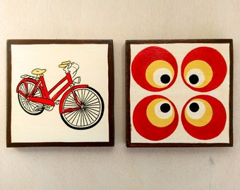 Mid Century Design, Paintings on Wood, Original Wall Decor, Modern Retro Style, Art Chairs, Vehicles Art, Geometric Art